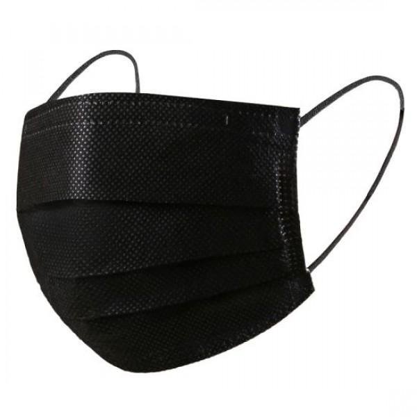 Хирургически трислойни маски с ластик /черни / 50 бр. в кутия