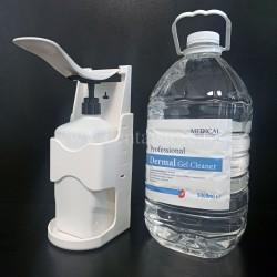 Дезинфектант за ръце - Dermal Gel Cleaner 5Л + ПОДАРЪК Механичен лакътен диспенсър с лост за дезинфектант 1Л, за стена, бял